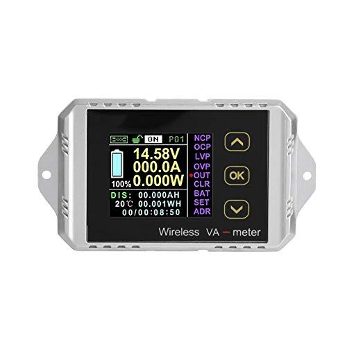 DC-Amperemeter, Wireless Color LCD-Bildschirm DC-Spannung Amperemeter Leistungsmesser Watt Tester kann Spannung, Strom, Leistung, Lade- und Entladekapazität, Wattstunde (VAT-1050)