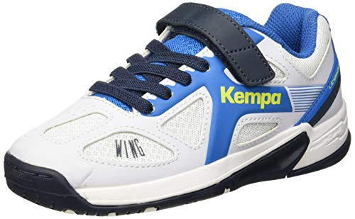 Kempa Unisex-Kinder Wing Junior Handballschuhe, Weiß (White/fair blue/Navy), 39 EU - Kinder-volleyball-schuhe