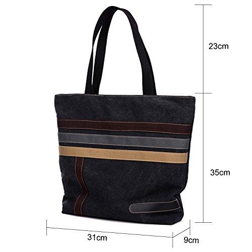 Young & Ming - Doona Handbag Borsa a mano Tela colore Strap Decorazione Shoulder bag Fashion Borsa a spalla per il lavoro / scuola / viaggi Nero