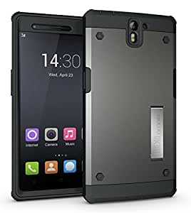 TUDIA Ultra Tough OMNIX [Heavy Duty] Hybrid Full-body Protective Case with Front Cover and Built-in Screen Protector / Impact Resistant Bumpers Cover for OnePlus One (Metallic Slate)