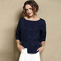 ZYZHjy Loose Dama Camiseta Manga De Siete Puntos,Tibetan Azul,M