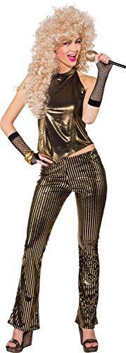 Fancy Me Damen 1980s Jahre 80s Gold Disco Diva Henne Do Abend Party Karneval Spaß Kostüm Kleid Outfit - Gold, UK 14 (EU 42)