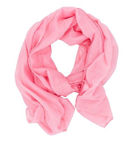WILD CAT Damen Schal Halstuch Tuch aus Chiffon für Frühling Sommer Ganzjährig (Rosa)