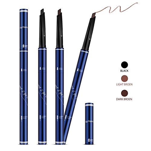 Augenbrauenstift Brauenpuder 3 Farben in 1,Langanhaltende Wasserdichte Schweißfeste Rinziehbarer Stift mit Bürste