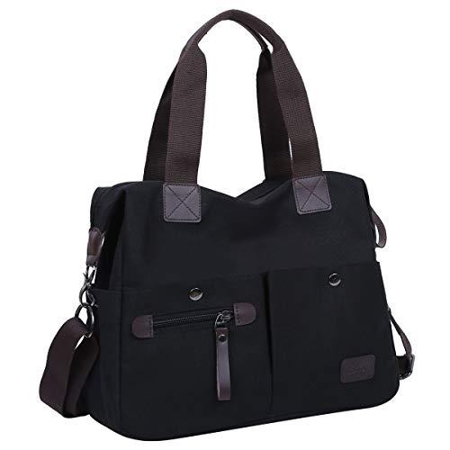 Eshow Damen Umhängetasche Handtasche Canvas Segeltuch mit Handgriff Anti diebstahl Fächern Schwarz zu Einkaufen spazieren (Große Außen-tasche)