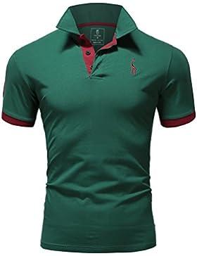 [Patrocinado]Glestore Polo Hombre Collar Polo Camisa Golf MT1030 de Tenis Camiseta Blanco Azul Negro Gris Rojo M-XXL