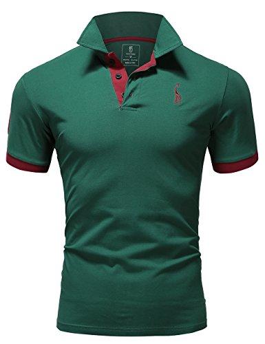 Glestore Herren Poloshirt Einfarbig M - XXL (M, Grün)
