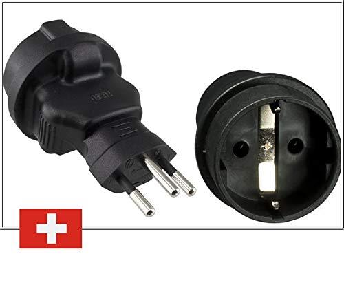 DINIC Reiseadapter, Stromadapter für die Schweiz, 3-Pin CH Adapter mit Sicherung (1 Stück, schwarz)