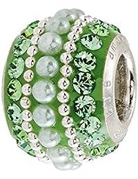 Amor y besos: plata, color verde y cristales de Swarovski y con cuentas de perlas