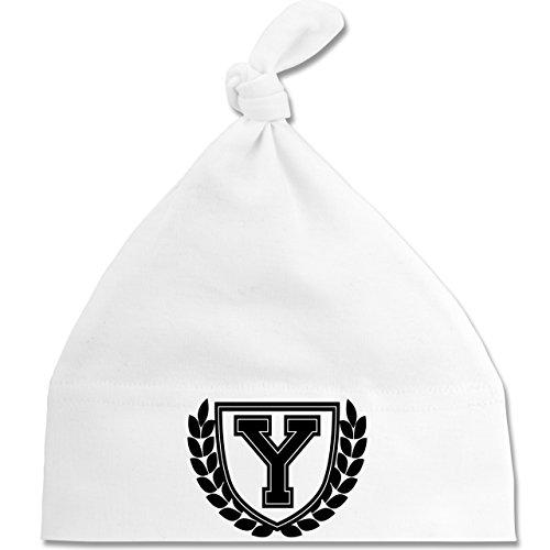 Shirtracer Anfangsbuchstaben Baby - Y Collegestyle - Unisize - Weiß - BZ15 - Baby Mütze mit einfachem Knoten als Geschenkidee