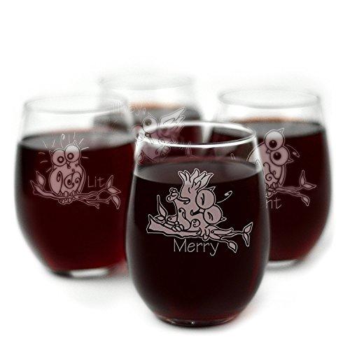 Drunk Eule Mottoparty Gravur ohne Stiel Wein Gläser-Set von 4