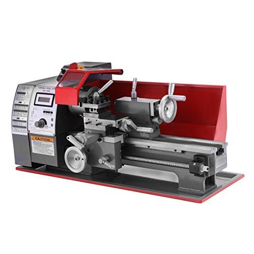 Happybuy Torni da Banco 7 x 12 pollici di Precisione Mini Tornio 2500 RPM 600W Mini del Metallo Tornio a Velocità Variabile 25 mm Contropunta Manica Sistema di Controllo Digitale (7 x 12Inch 600W)