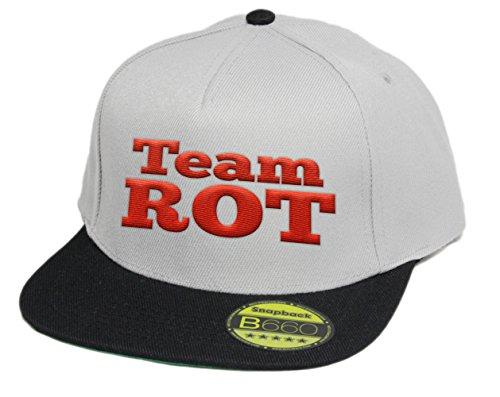 simpleandsweet Team Rot, Snapback Cap, 5 Panel/Greyblack