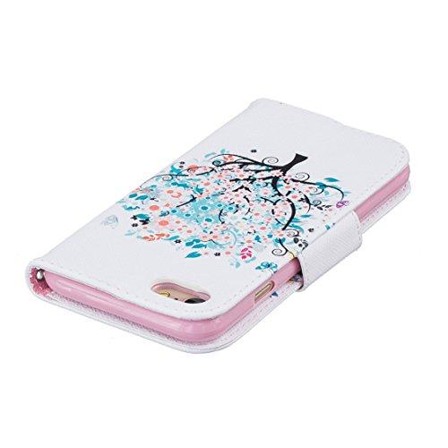 AYASHO® iPhone 7 Wallet Tasche Hülle - Ledertasche im Bookstyle - [Ultra Slim][Card Slot][Handyhülle] Flip Wallet Case Etui für Apple iPhone 7 (4,7 Zoll) - D04 D18