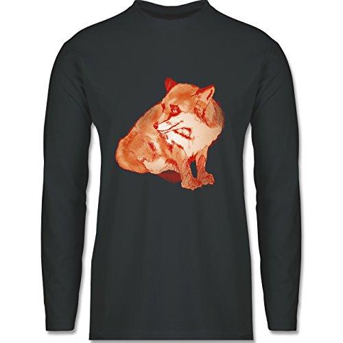 Boheme Look - Fuchs Süss Zeichnung - Longsleeve / langärmeliges T-Shirt für  Herren Anthrazit