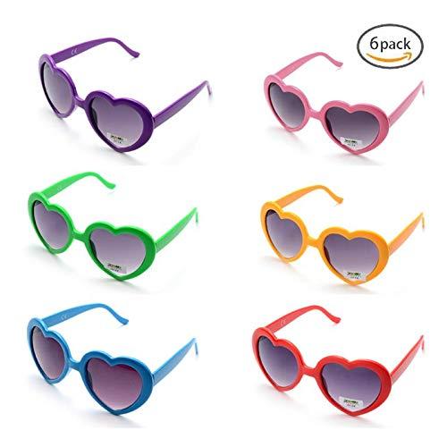 OAONNEA 6 stück Neon Farben Party Sonnenbrillen Set für Kinder Erwachsene Partybrille Herzform Party Favors und Festival (6Farbe)