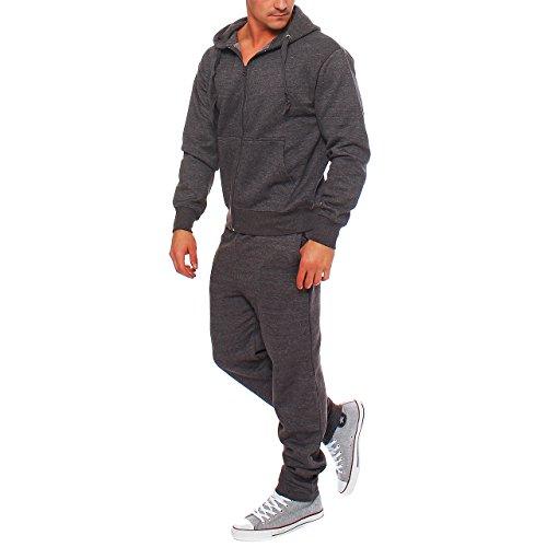 Hype Inc Herren Jogging Anzug Trainingsanzug Sweatshirt Hose Sportanzug Dunkelgrau