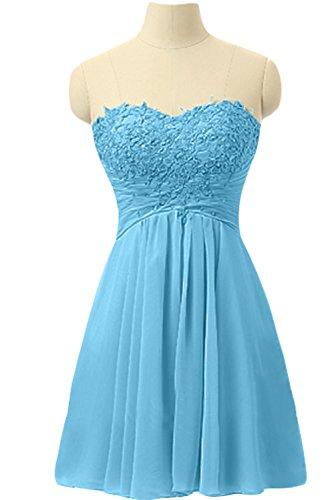 Gorgeous Bride Wunderschoen Traegerlos Knielang Empire Chiffon Abendkleider Cocktailkleid Ballkleider Blau