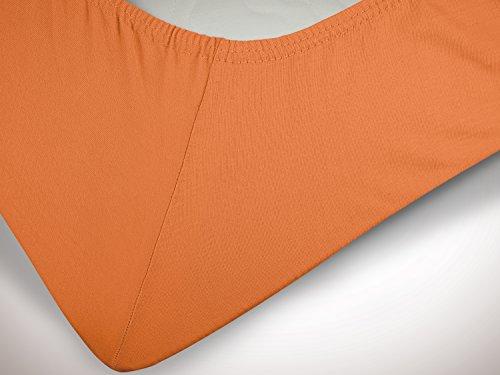 npluseins klassisches Jersey Spannbetttuch - erhältlich in 34 modernen Farben und 6 verschiedenen Größen - 100% Baumwolle, 90-100 x 200 cm, terrakotta - 6