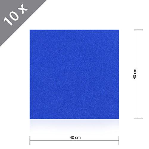 10 x HSM Teppichfliese Nadelfilz Bodenbelag selbstklebend für Treppe, Kinderzimmer oder Küche 40cm x 40cm BLAU (10x10 Teppiche)