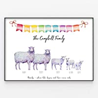 Sheep & Lambs Family Print, Custom Quote, Personalised Wall Art Gift A4 or A3