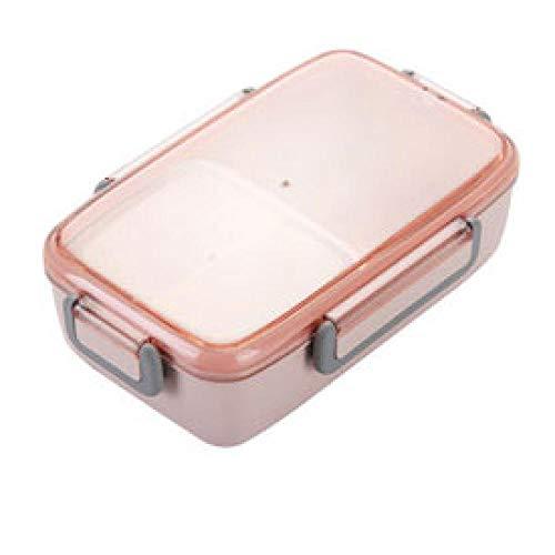 chenqian1 Bento Box Tragbare Umweltfreundliche Weizenstroh Lunchbox wasserdichte Mikrowelle Lunchbox Mit Separatem Fach Lebensmittelbehälter @ Pink