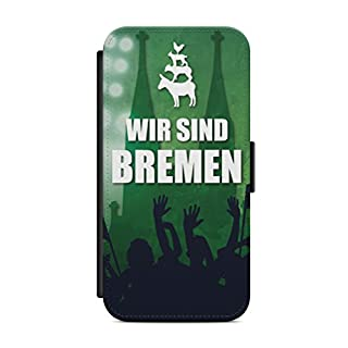 aina iPhone 7 Plus + Flipcase Handytasche Hülle mit Magnetverschluss auffklappbar Bremen Skyline Motiv Bild