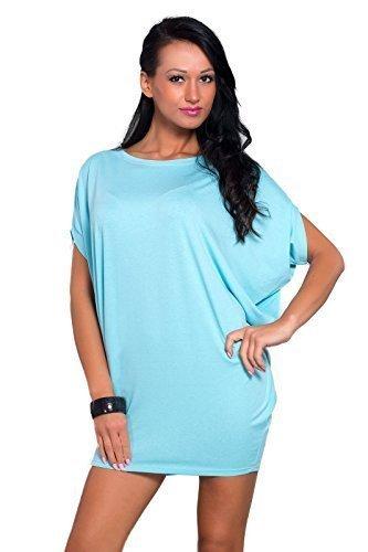 Futuro Fashion Ample Pour Dames Mini Robe Manche Courte élastique Tunique Tailles 8-18 UK 8127 Aqua