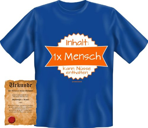 bedrucktes Karneval T-Shirt + Urkunde: 1x Mensch - coole lustige Fasching Herren Shirt Fastnacht Fun Geschenk Royal-Blau