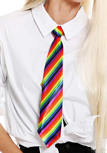 Bunte Krawatte (dressmeup K0810-rainbow Krawatte Tie Regenbogenfarben bunt gestreift Halloween Karneval CSD)