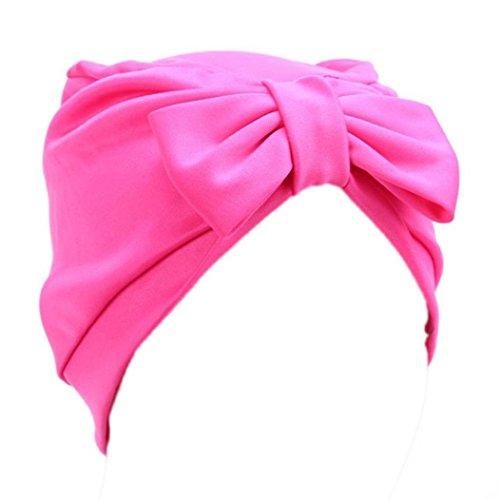 Mützen Transer® Baumwolle Komfortabel Damen Krebs Chemo Hygiene Alopezie Marine Rosa Rot Wein Weiß Gelb Make-up Hut Falten Stretch Turban Mützen mit Bowknot (Pink)