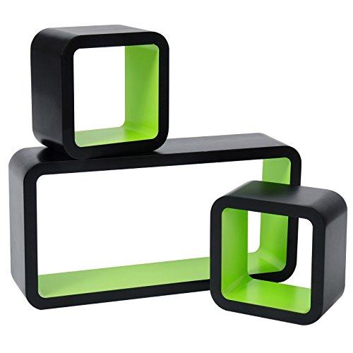 WOLTU rg9248gn Wandregal Cube Dekoregal Hängeregal Schweberegale, Außen Schwarz Lackiert, Grün