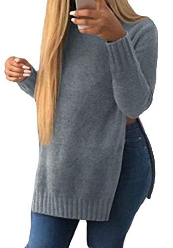 Encounter Damen Pullover Slit Side Hem Longshirt Bluse Shirt Pulli  weitgeschnitten langarm Top. d8cef28ada