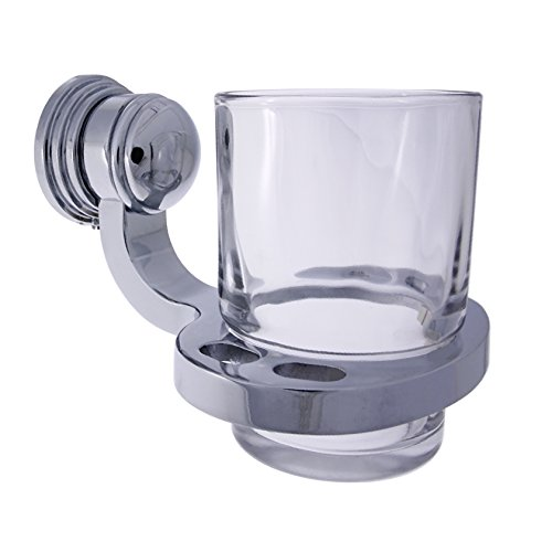 Florenz-wandhalterung (Design Mundspülglas / Zahnputzglas / Wasserglas, mit Wandhalterung, verchromtes Messing)