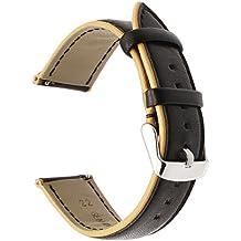 Para Samsung Gear S3 banda de reloj, TRUMiRR 22mm doble color de cuero genuino banda de reloj de liberación rápida pulsera para Samsung Gear S3 Classic Frontier, Gear 2 Neo Live, Moto 360 2 46mm Men, Pebble Time, LG G Watch Urbane, Vector, Xiaomi Amazfit