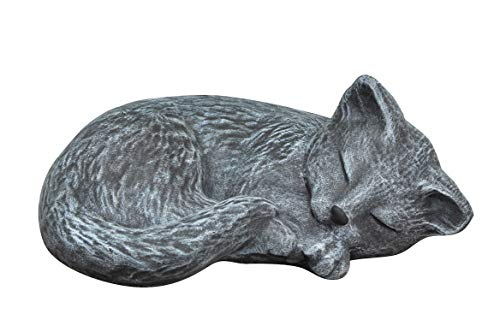 Steinfigur Katze schlafend in Schiefergrau, Figur, Deko, Grabschmuck ()