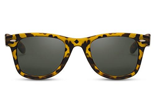 Cheapass Sonnenbrille Wayfarer Schwarz Braun Leopard Festival Nerd Unisex