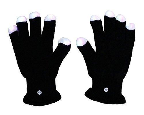 (DSstyles Raver Blacked Out Handschuhe RGB LED 7 Farben Light Show Handschuhe)