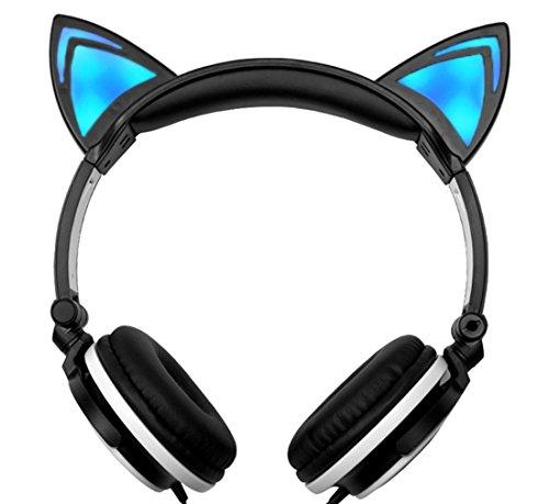 Lukis Katze Ohren Kopfhörer Kopfhörer für Kinder Erwachsene mit LED-Licht Faltbare Over-Ear Gaming Kopfhörer Cosplay Headsets (Schwarz-Weiß) (Ipod Kopfhörer Kostüm)