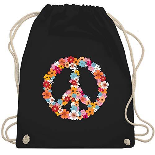 Statement Shirts - Peace Flower Power - Unisize - Schwarz - WM110 - Turnbeutel & Gym Bag