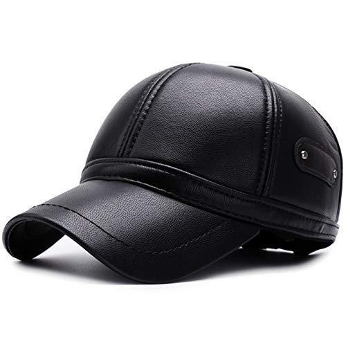 JJZHY Herbst Und Winter Baseball Caps Herren Outdoor-Pu-Leder Visor Warme Mode,schwarz,Einheitsgröße -