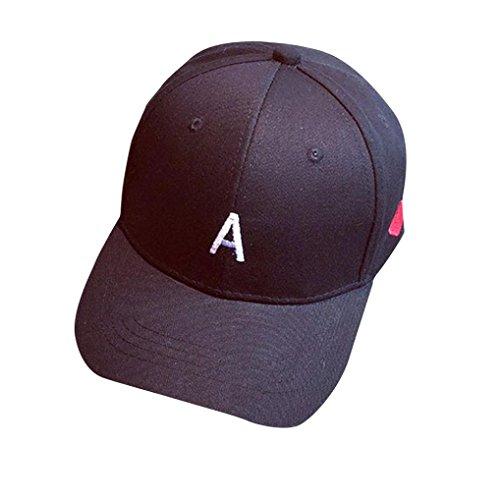 LCLrute Mode Stickerei Baumwolle Baseball Cap Jungen Mädchen Snapback Hip Hop Flachen Hut (Schwarz) (Hut Gestickte Stricken Winter)