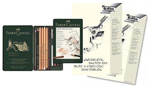 Preisvergleich Produktbild Faber-Castell 112975 - Pitt Monochrome Set im Metalletui, klein, 12-teilig mit 2 Blöcken