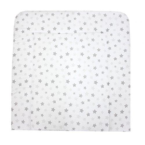 TupTam Baby Wickelauflage Gemustert mit Baumwollbezug, Farbe: Tupfen-Sterne Grau, Größe: 75 x 85 cm