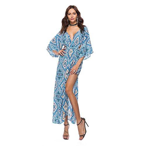 Kleid der Frau Damen Kleid Vintage Casual Mantel Swing Kleid - Floral High Rise V-Ausschnitt New Spring Summer M, L, XL, 2XL (Größe : M, Style : 2) Vintage Swing Mantel