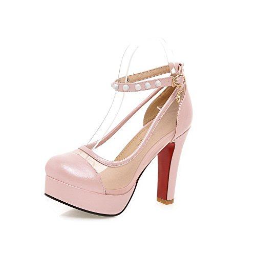 VogueZone009 Femme Matière Mélangee Rond à Talon Haut Boucle Couleur Unie Chaussures Légeres Rose