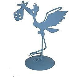 Figura de Pastel Metálica Cigüeña AZUL - Figuras para Bebé AZUL de Metal BabyShower, Tartas, Recién Nacidos, Bautizos, Niños