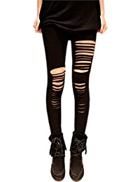 Finejo Womens Cut Out Ripped Punk Skinny Pants Hollow Trousers Black Pencil