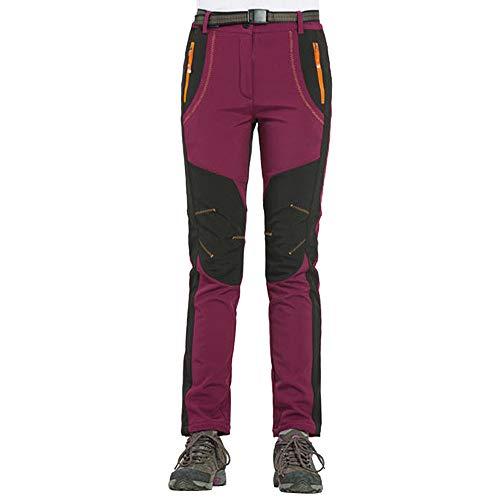 Pantaloni antivento impermeabili da donna all'aperto da trekking caldi pantaloni invernali più leggings (xxxxl, rosso)