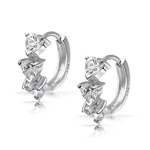 Bling Jewelry Sterling Silver Clear CZ Heart Shaped Huggie Hoop Earrings
